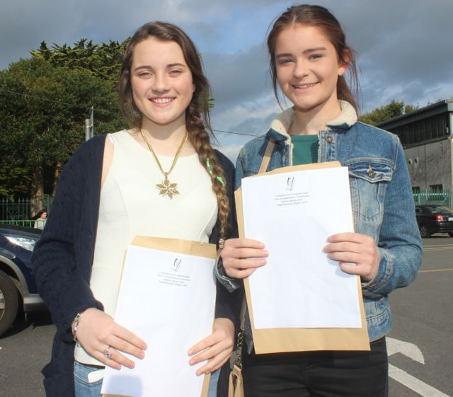 Presentation Tralee students, Mary Fitzpatrick and Sarah Fitzgerald, with their Junior Cert results on Wednesday morning. Photo by Dermot Crean