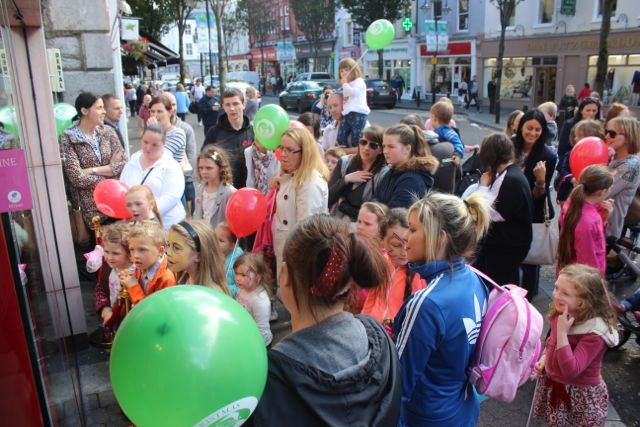 The crowd gathered outside CH at the launch of Santaland at CH Chemists on Saturday afternoon. Photo by Dermot Crean