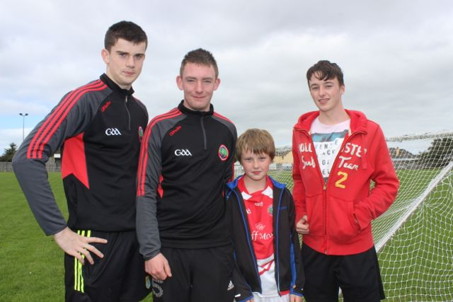 Jack Quilter, Cillian Quirke, Cillian Lynch and Tommy Lynch at the St Pat's GAA family fun day on Sunday. Photo by Dermot Crean