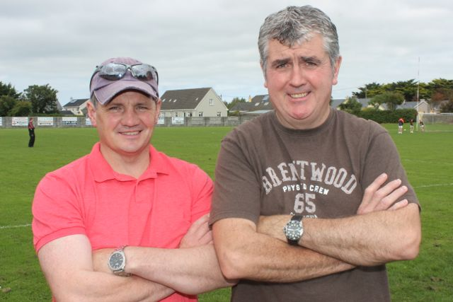 Seamus Murphy and Dan O'Sullivan at the St Pat's GAA family fun day on Sunday. Photo by Dermot Crean