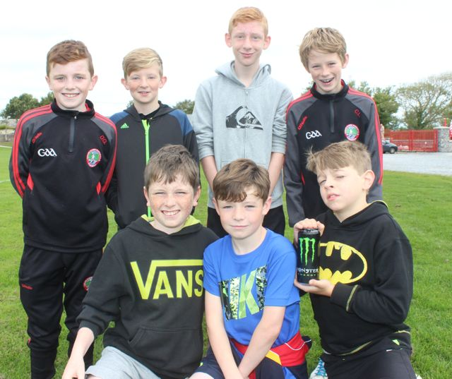 In front; Dylan Griffin, Corey O'Shea, Aaron Murphy. At back; Danny Greaney, Oisin Tobin, Jamie O'Brien and Cormac Lynch at the St Pat's GAA family fun day on Sunday. Photo by Dermot Crean