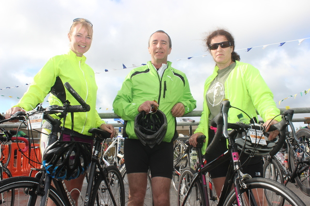 At the Ardfert Harvest Cycle were, from left: Sinead Stack, Brendan O'Sullivan and Lisa Harkin. Photo by Gavin O'Connor.
