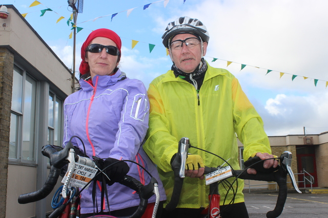 At the Ardfert Harvest Cycle were, from left: Shelia and John Kerleey. Photo by Gavin O'Connor..... That's how they spell it