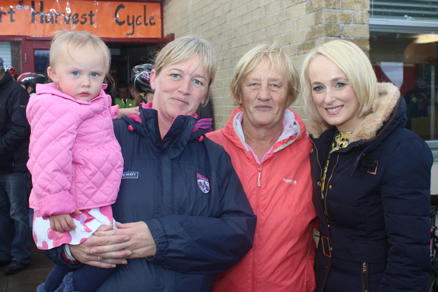 At the Ardfert Harvest Cycle were, from left: Evie McAuliffe, Caroline McAuliffe, Peggy O'Sullivan and Sinead Kissane. Photo by Gavin O'Connor.