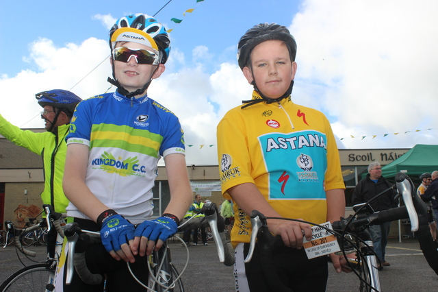 At the Ardfert Harvest Cycle were, from left: Dylan O'Sullivan and Cian O'Shea. Photo by Gavin O'Connor.