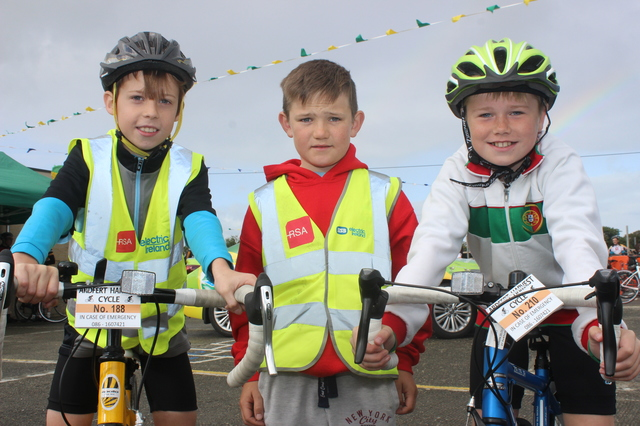 At the Ardfert Harvest Cycle were, from left: Ethan Fitzgerald, Jamie O'Shea and Alex McGrath. Photo by Gavin O'Connor.