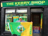 Derek Kidney, outside his 'Kerry Shop' on Rock Street has everything that a supporter might need. Photo by Fergus Dennehy.