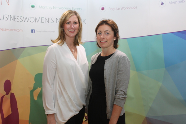 At the Kerry Buisness Women's Network Open Night on in the Ballygarry Hotel were, from left: Liz Hickey and Aedamar O'Neill. Photo by Gavin O'Connor.