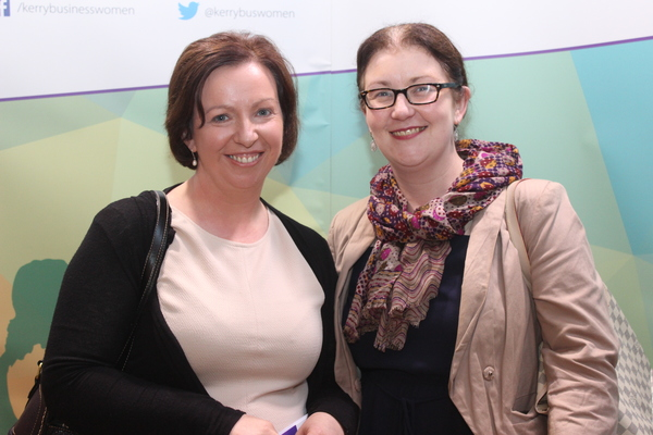 At the Kerry Buisness Women's Network Open Night on in the Ballygarry Hotel were, from left: Antoinette Butler and Marita O'Sullivan. Photo by Gavin O'Connor.
