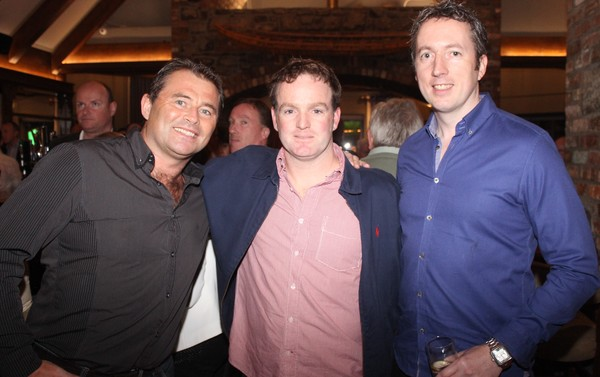 At the Tralee Bay Swimming Club social on in the Meadowlands were, from left: John Dowling, Dave Smith and David Barton. Photo by Gavin O'Connor.