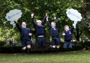 Launch of the One Good Idea. Pictured is Craoi Horgan, Adam McDonagh, Sarah Bodenham and Tiernan O'Sullivan from Ardferet Central National School, Co Kerry. Photo Chris Bellew / Copyright Fennell Photography 2015