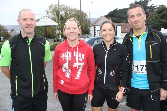 Denis Brosnan, Rosarie Quilter, Suzanne O'Sullivan and James Daly at the Churchill GAA 10k run on Sunday morning from the Oyster Tavern. Photo by Dermot Crean