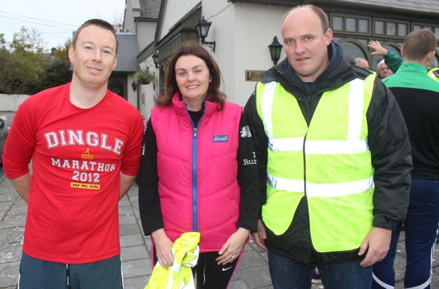 David Rolls, Tracy O'Sullivan and Padraig Ryan, at the Churchill GAA 10k run on Sunday morning from the Oyster Tavern. Photo by Dermot Crean