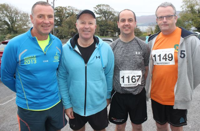 Pat Sheehy, Con Connor, Maurice O'Shea and Tom Scanlon at the Churchill GAA 10k run on Sunday morning from the Oyster Tavern. Photo by Dermot Crean