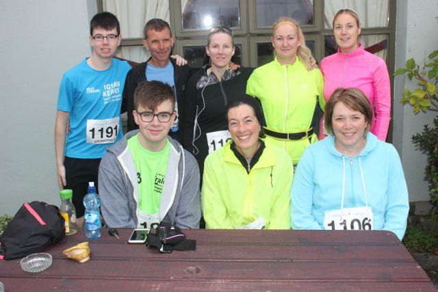In front; Jessie Brosnan, Eileen Lovett, Aine Crowe. Back from left; Zach Brosnan, Tommy Horan, Martina Coffey, Ethel Meehan and Edel Broderick at the Churchill GAA 10k run on Sunday morning from the Oyster Tavern. Photo by Dermot Crean