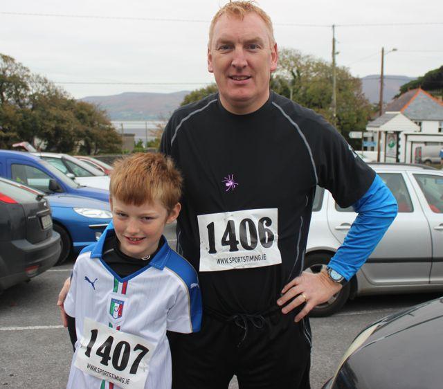 David and John Chute at the Churchill GAA 10k run on Sunday morning from the Oyster Tavern. Photo by Dermot Crean