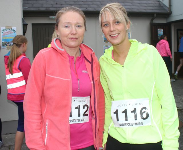 Breda Doyle and Elaine Galvin at the Churchill GAA 10k run on Sunday morning from the Oyster Tavern. Photo by Dermot Crean