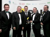 Pakman Awards 2015. Dillon Waste winners of the Waste Collection Operator of the Year (Small) Award, Sponsored by IWMA . Pictured from Left to Right: Minister for the Environment, Alan Kelly, Gary Dillon of Dillon Waste, Brian Dillon of Dillon Waste, Garret Dillon of Dillion Waste and Kieran Mullins of the IWMA celebrating at the inaugural Pakman Awards by Repak. Dillon Waste were the winners of the Waste Collection Operator of the Year (Small) Award, Sponsored by IWMA . The Pakman Awards seek to recognise complete excellence in the environmental approach taken by business, organisation or a community in all aspects of their operations. Photo Chris Bellew / Fennell Photography 2015