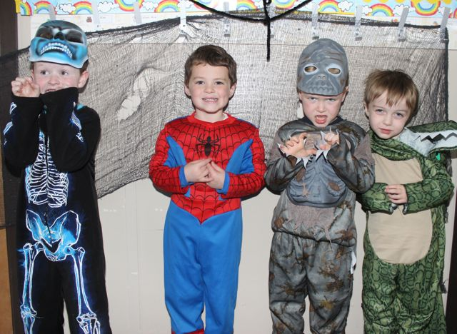 Junior infants Jake Moriarty Kelly, Callum Rice, Finn Fitzgerald and Isaac Price having fun at Blennerville NS on Friday. Photo by Dermot Crean