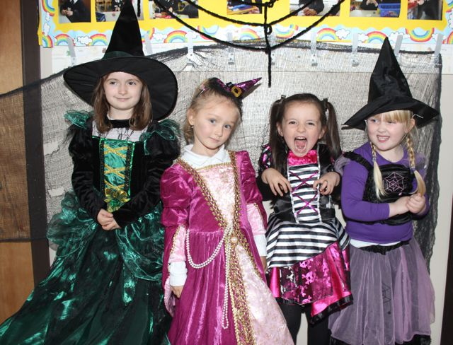 Lilly Mai Mullins, Polly Jones and Naomi Wrzodak and Ruby Foley having fun at Blennerville NS on Friday. Photo by Dermot Crean
