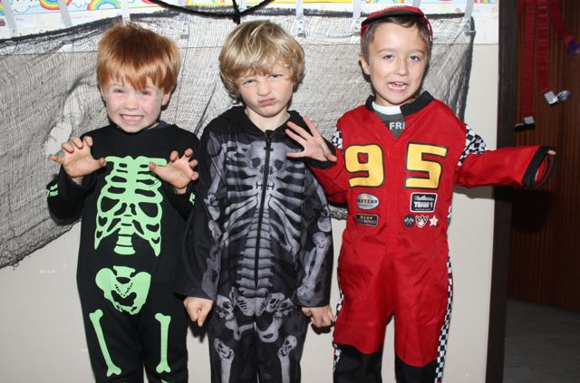 Junior infants Barry O'Sullivan, Rian Flynn and Calum Ross having fun at Blennerville NS on Friday. Photo by Dermot Crean