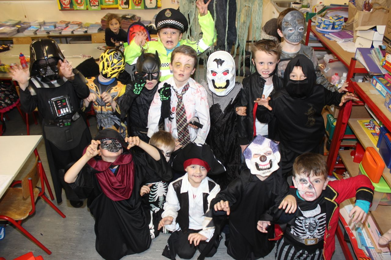 The first and second class boys having fun at Blennerville NS on Friday. Photo by Dermot Crean