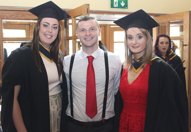 Lucy Cush, Wicklow (Health and Leisure), Stephen Hayes, Killarney (Health and Leisure), Vera Loughnane, Clare, (Health and Leisure) at the IT Tralee graduation ceremony at the Brandon Hotel on Friday. Photo by Gavin O'Connor.