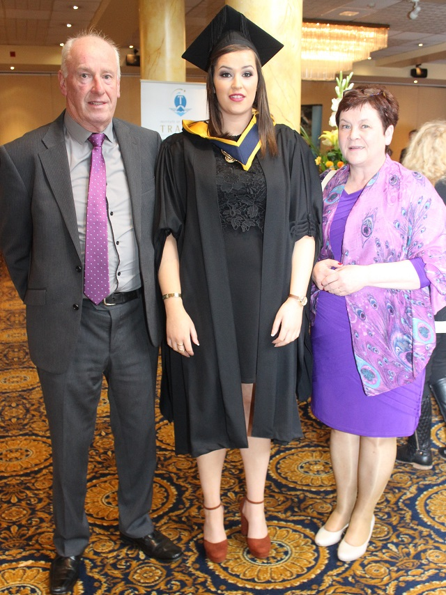 Tom Higgins Leona Higgins, Galway (Health Leisure) and Bernie Higgins at the IT Tralee graduation ceremony at the Brandon Hotel on Friday. Photo by Gavin O'Connor.