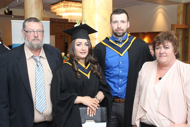 Moss Moore, Karen Moore, Limerick (Health and Leisure), Micheal Flynn, Limerick, (Health and Leisure) and Betty Moore at the IT Tralee graduation ceremony at the Brandon Hotel on Friday. Photo by Gavin O'Connor.