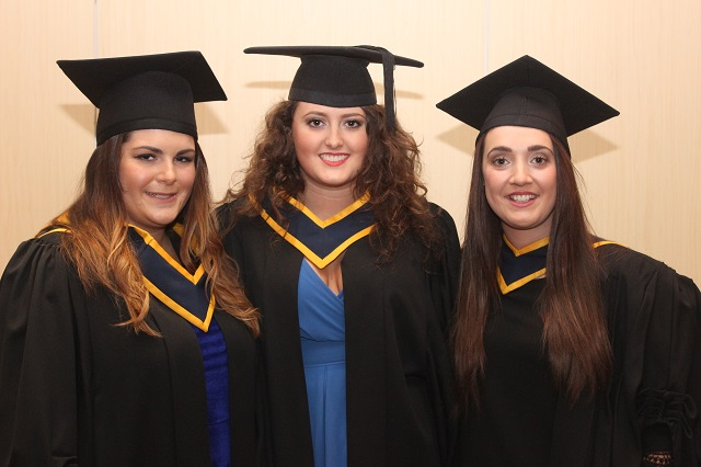 Alana Fusciardi (Health and Leisure), Ashling Barry, Wexford (Health and Leisure) and Niamh Kinsella, Carlow (Health and Leisure),at the IT Tralee graduation ceremony at the Brandon Hotel on Friday. Photo by Gavin O'Connor.