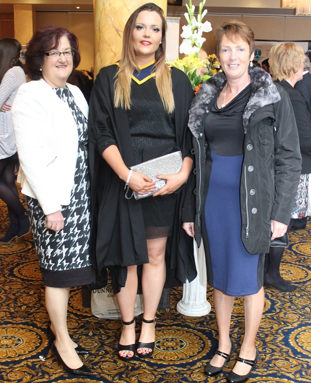 Brenda Gorey, Alison Barden, Wexford (Health and Leisure) and Francis Barden at the IT Tralee graduation ceremony at the Brandon Hotel on Friday. Photo by Gavin O'Connor.