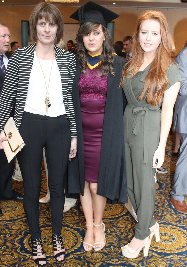 Mary O'Halloran, Marie O'Halloran, Listowel (Agricultural Science) and Catriona O'Halloranat the IT Tralee graduation ceremony at the Brandon Hotel on Friday. Photo by Gavin O'Connor.