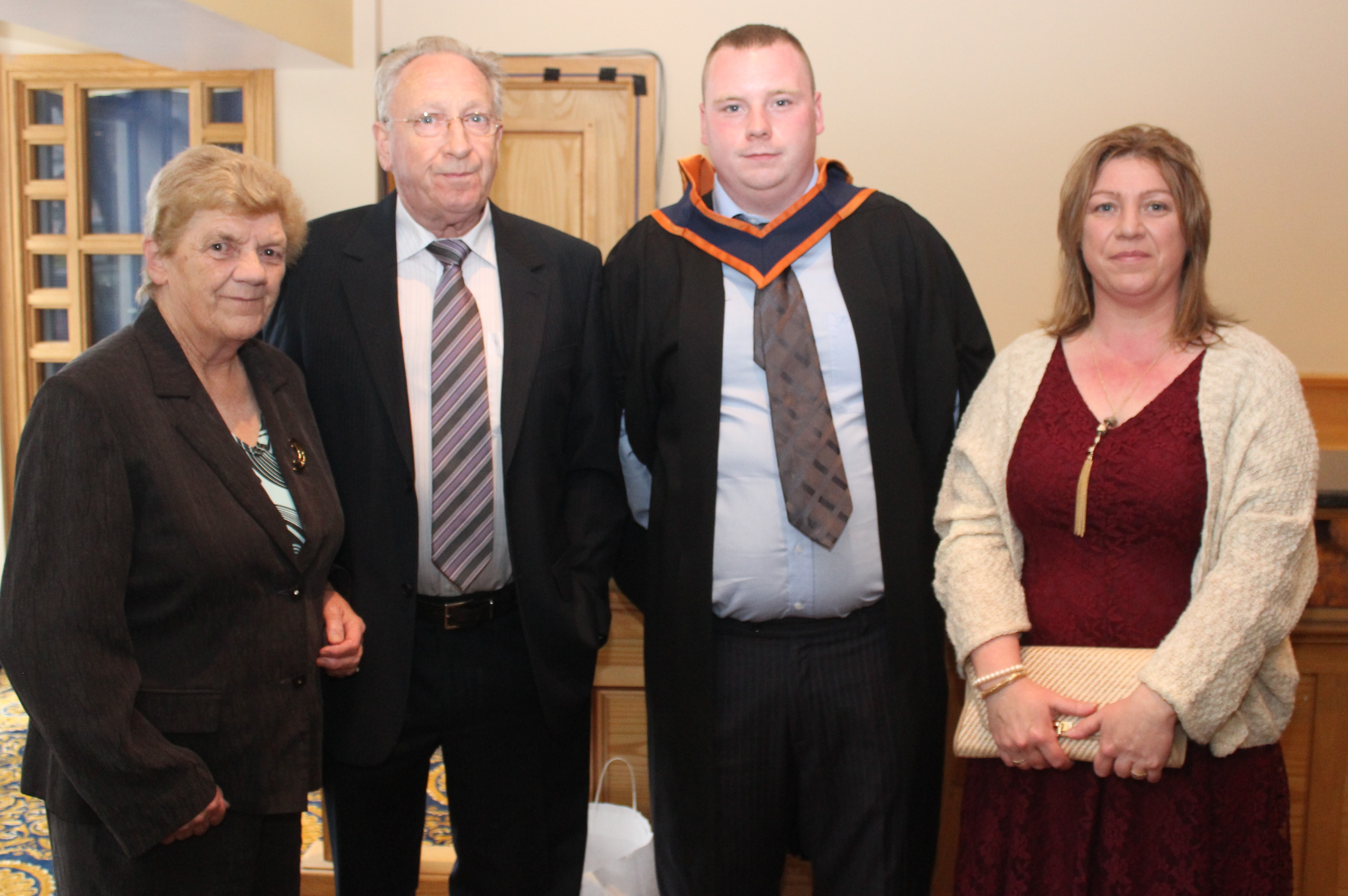 Sarah McCrann, Paddy McCrann, Lee Devine, Sligo (Production Engineering) and Aileen McCrannat the IT Tralee graduation ceremony at the Brandon Hotel on Friday. Photo by Gavin O'Connor.