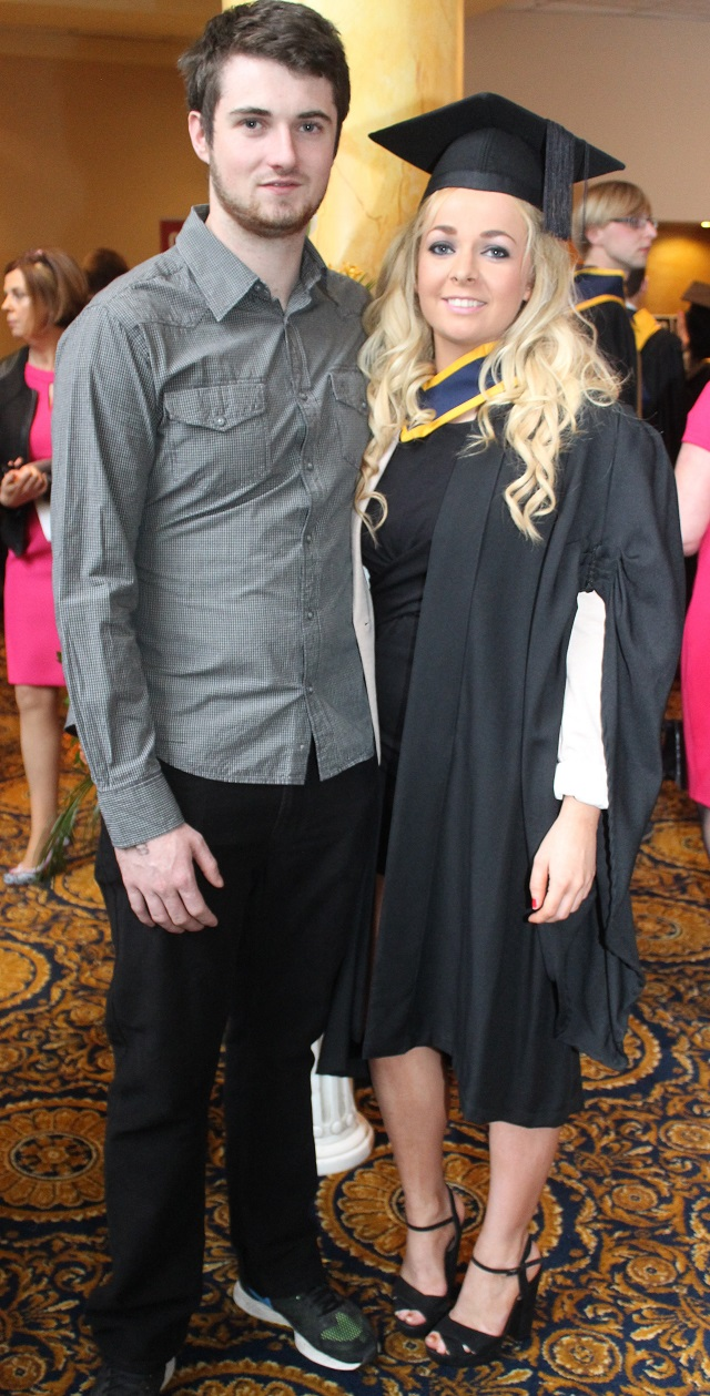 Kealan Dowling and Ashling O'Shea, Dubllin (Health and Leisure) at the IT Tralee graduation ceremony at the Brandon Hotel on Friday. Photo by Gavin O'Connor.