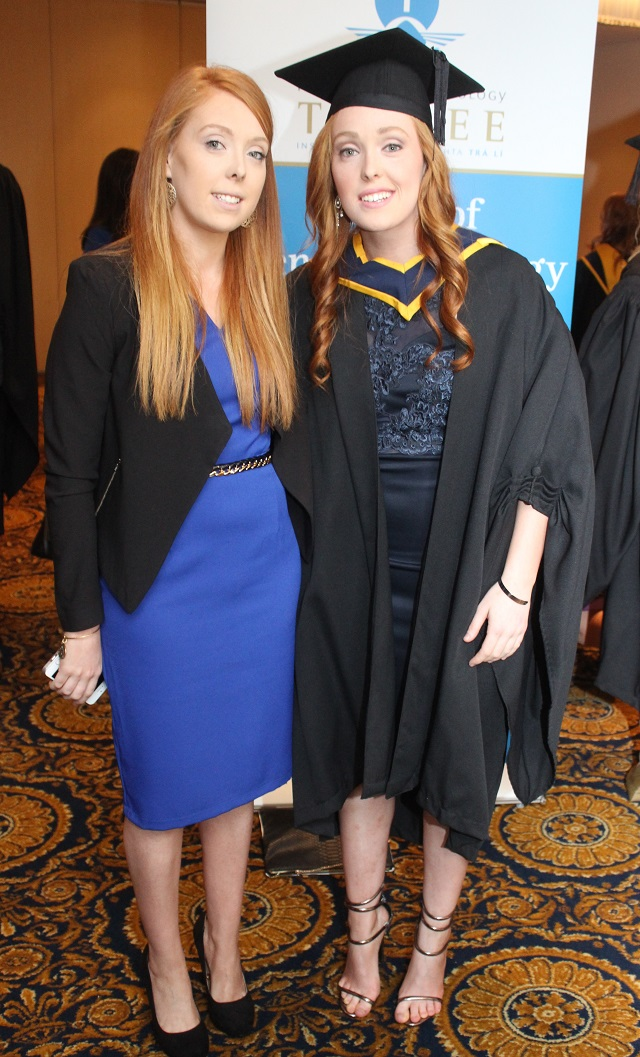 Orla Newell and Aoife Newell, Galway (Health and Leisure) at the IT Tralee graduation ceremony at the Brandon Hotel on Friday. Photo by Gavin O'Connor.