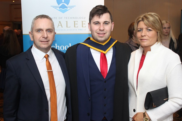 Liam Spain, Donal Spain, Offaly (Health and Leisure) and Anne Spain at the IT Tralee graduation ceremony at the Brandon Hotel on Friday. Photo by Gavin O'Connor.
