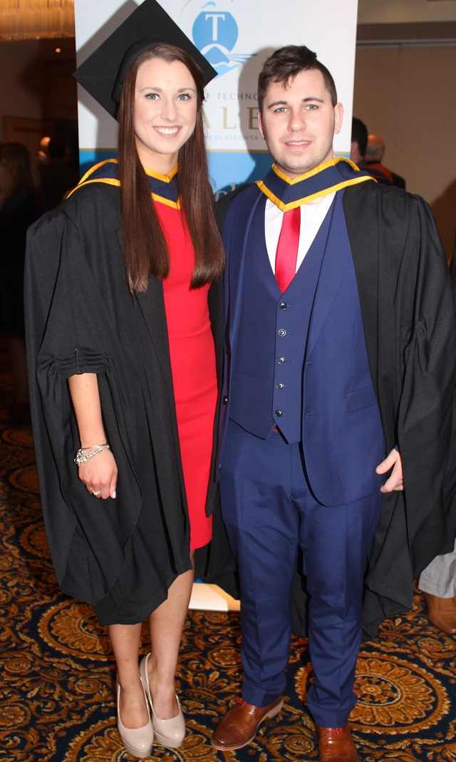 Raissa Smyth, Carlow (Health and Leisure) and Donal Spain, Offaly (Health and Leisure) at the IT Tralee graduation ceremony at the Brandon Hotel on Friday. Photo by Gavin O'Connor.