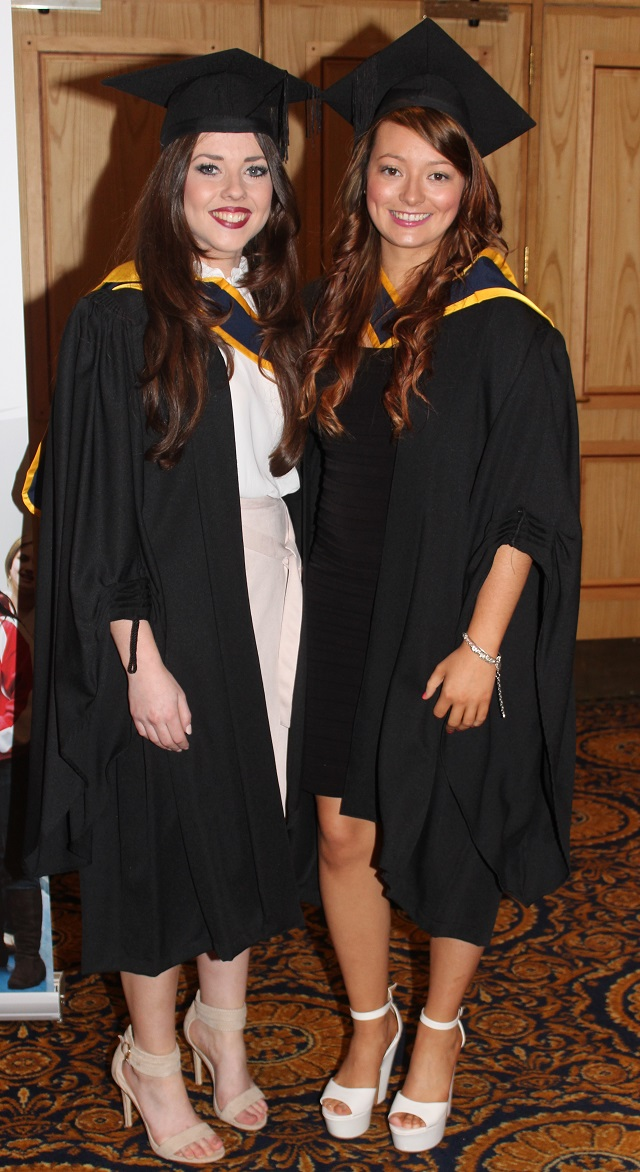 Niamh Doyle, Kildare (Health and Leisure), Emma Fitzgearld, Killarney (Health and Leisure) at the IT Tralee graduation ceremony at the Brandon Hotel on Friday. Photo by Gavin O'Connor.