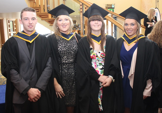 Shane Cully, Kildare (Wildlife Biology), Sinead Clifford, Milltown (Wildlife Biology), Holly Clarke, Kildare (Wildlife Biology), Jane Walsh, Fenit, (Wildlife Biology) at the IT Tralee graduation ceremony at the Brandon Hotel on Friday. Photo by Gavin O'Connor.