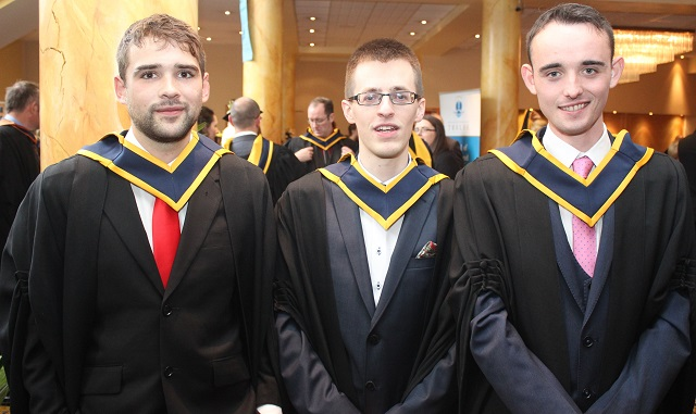 Eoin Burke, Laois (Wildlife Biology), Tadhg Gennery, Limerick (Wildlife Biology), James Kimp, Laois (Wildlife Biology) at the IT Tralee graduation ceremony at the Brandon Hotel on Friday. Photo by Gavin O'Connor.