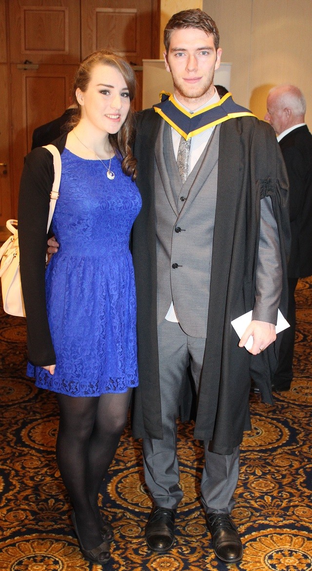 Sarah Curtin, Robert Clair, Kilrush (Health and Leisure) at the IT Tralee graduation ceremony at the Brandon Hotel on Friday. Photo by Gavin O'Connor.