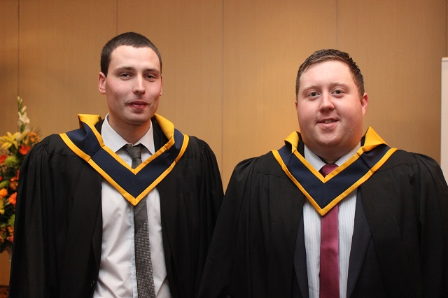 Patrick Dillane, Tralee (Agricultural Science) and Jason O'Connell (Agricultural Science) at the IT Tralee graduation ceremony at the Brandon Hotel on Friday. Photo by Gavin O'Connor.