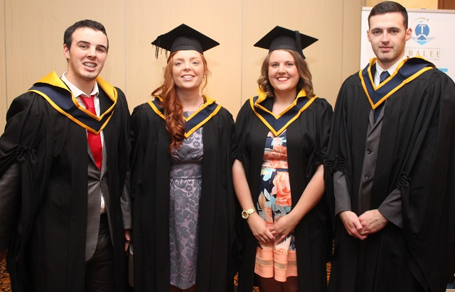 Micheal Allman, Killarney (Agricultural Science), Jennifer Duignan, Roscommon (Agricultural Science), Karen Cousins, Wexford (Agricultural Science), Adrian Almond, Killarney (Agricultural Science) at the IT Tralee graduation ceremony at the Brandon Hotel on Friday. Photo by Gavin O'Connor.