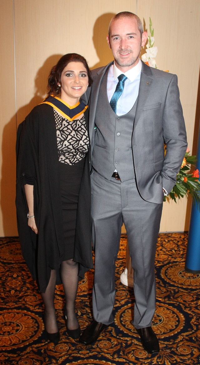 Hazel Tough (Wildlife Biology) and John Dalton at the IT Tralee graduation ceremony at the Brandon Hotel on Friday. Photo by Gavin O'Connor.