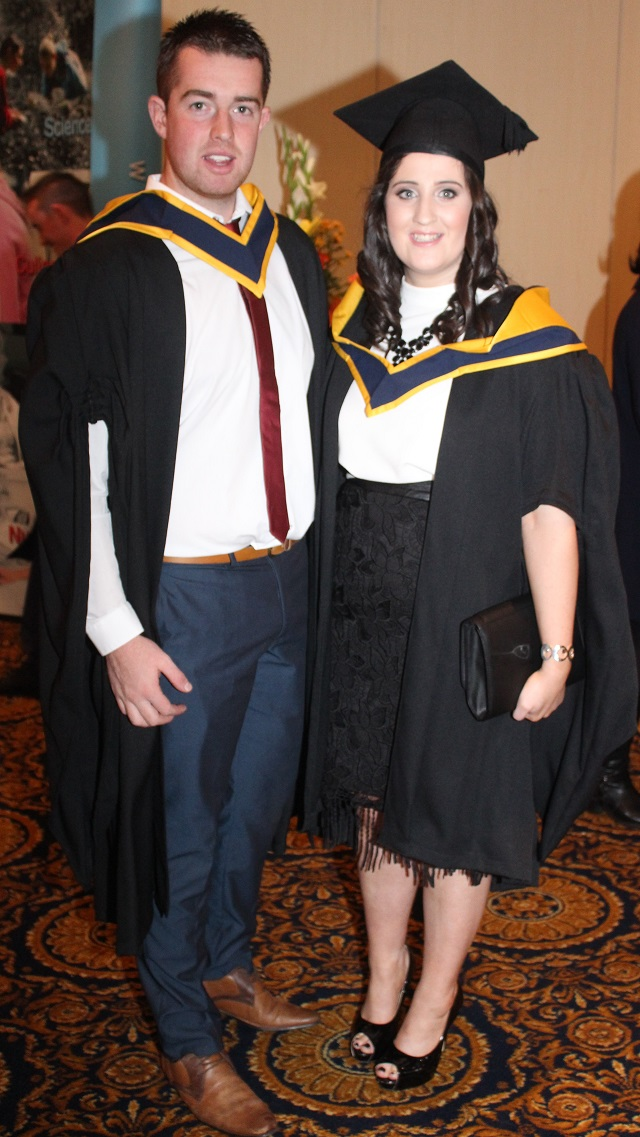 Conor Counihan, Castlemaine (Agricultural Science) and Emma Slattery Mitchelstown at the IT Tralee graduation ceremony at the Brandon Hotel on Friday. Photo by Gavin O'Connor.