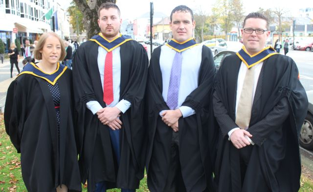 Cara Nelligan (Computing with Multimedia), Conor Hayes (Computing with Software Development), Tommy Cregan (Computing With Multimedia), Gareth Mannix (Computer and Software Development) at the ITT graduation ceremony at the Brandon Hotel on Thursday. Photo by Gavin O'Connor