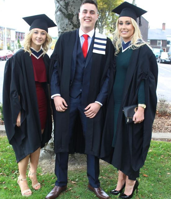 Grace Sheedy (Travel and Tourism Management), Paul Murphy (Business Studies) and Shauna Lynch (Travel and Tourism Management) at the ITT graduation ceremony at the Brandon Hotel on Thursday. Photo by Gavin O'Connor