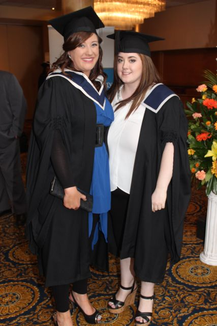 Linda Mulcahy (Business Studies and Management) Laura Burke (Culinary Skills) at the ITT graduation ceremony at the Brandon Hotel on Thursday. Photo by Gavin O'Connor