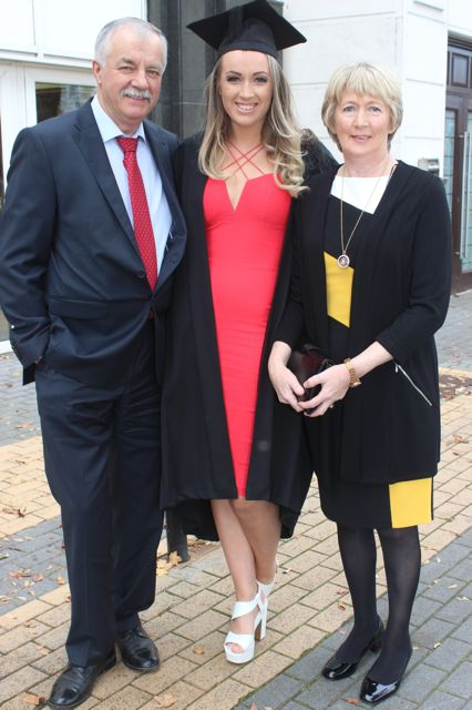 Elaine O'Loughlin (Business and Accounting) with Gerard and Eileen O'Loughlin at the ITT graduation ceremony at the Brandon Hotel on Thursday. Photo by Gavin O'Connor