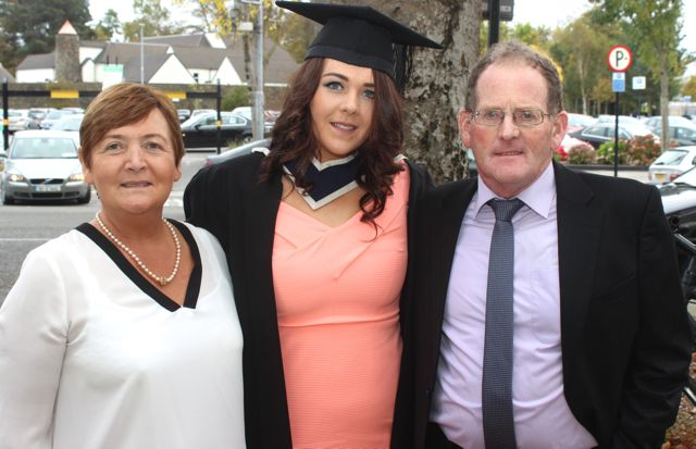 Eileen Cronin (Business and Accounting) with Joan and Eugene Cronin at the ITT graduation ceremony at the Brandon Hotel on Thursday. Photo by Gavin O'Connor